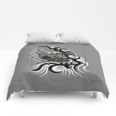 Dragon in Tattoostyle , black - white and grey Design Comforters