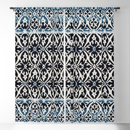 (N5) Vintage Anthropologie Moroccan Indigo Artwork. Blackout Curtain