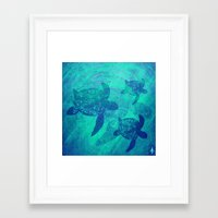 turtles Framed Art Prints featuring Turtles by Inailau Hut