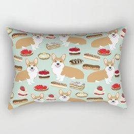Corgi Patisserie Bakery French Parisian food, tarts, eclair, napoleon, cute food design Rectangular Pillow