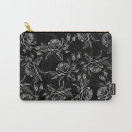 Elegant black faux silver vintage rose floral Carry-All Pouch