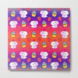 Cute happy cuddling funny Kawaii baby kittens, sweet red summer strawberries and colorful rainbow yummy cupcakes bright orange purple design. Nursery decor. Metal Print