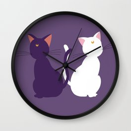 Luna & Artemis (Minimalist) - Purple Wall Clock