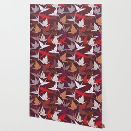 Japanese Origami paper cranes symbol of happiness, luck and longevity, sketch Wallpaper