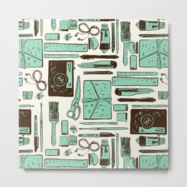 Artist tools pattern Metal Print