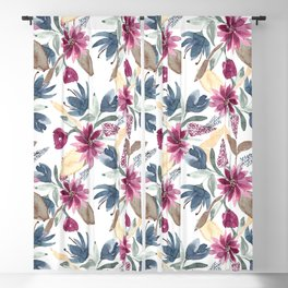 Burgundy Blue Brown Gold Watercolor Fall Flowers Blackout Curtain