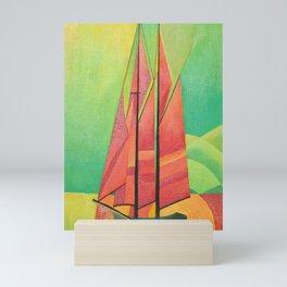 Cubist Abstract Sailing Boat Mini Art Print