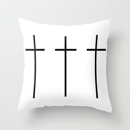 CROSSES (WHITE) Throw Pillow