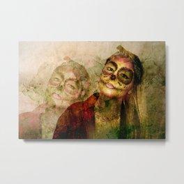 Chola Sugar Skull Grunge Art Metal Print