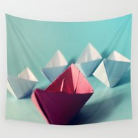 boats Wall Tapestries featuring Boats by Studio Samantha