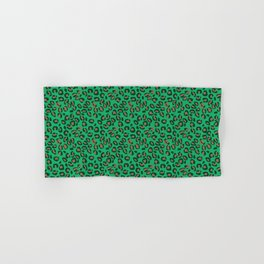Greenery Green and Beige Leopard Spotted Animal Print Pattern Hand & Bath Towel
