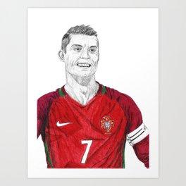 Cristiano Ronaldo Ballpoint Pen Drawing Art Print
