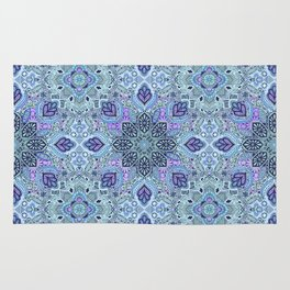 Navy Blue, Mint and Purple Boho Pattern  Rug