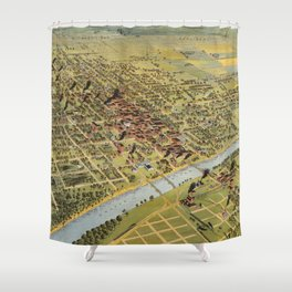 Vintage Pictorial Map of Waco Texas (1892) Shower Curtain