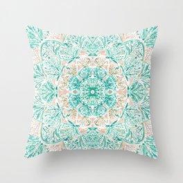 SO SHELLULAR Mint + Rose Gold Shell Mandala Throw Pillow