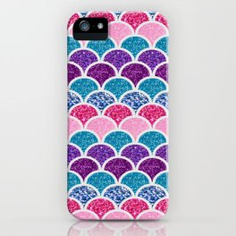 cute pink purple turquoise mermaid scales iPhone Case