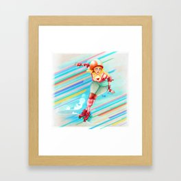 roller derby girl Framed Art Print