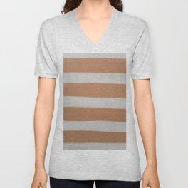 Modern White Copper Brown Stripes Brushstrokes Unisex V-Neck