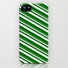 Mint Cream & Dark Green Colored Lined Pattern iPhone Case