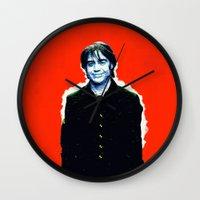 brad pitt Wall Clocks featuring Brad Roberts by Alec Goss
