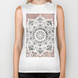 Dreamer Mandala White On Rose Gold Biker Tank