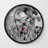 cara Wall Clocks featuring Cara by Veronique de Jong