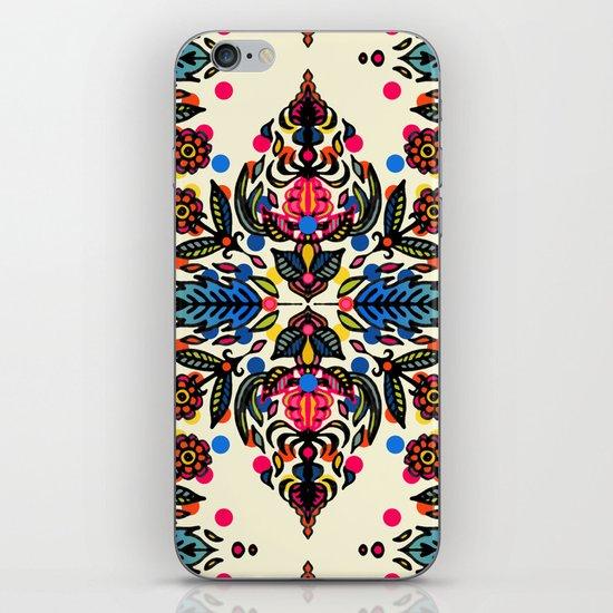 Bright Folk Art Pattern - hot pink, orange, blue & green iPhone & iPod Skin