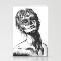sugar skull Stationery Cards featuring Sugar Skull by Lena Safaniouk