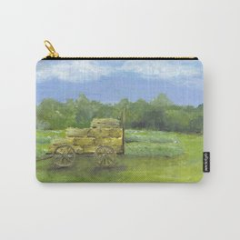 Hay Wagon in a Farm Field, Country Landscape Art Carry-All Pouch