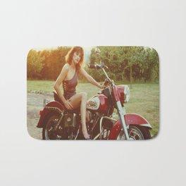 Motorcycle and Pinup Bath Mat