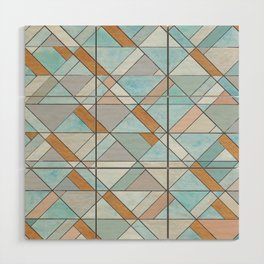 Shifting Pattern Turquoise and Gold Wood Wall Art