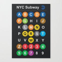 New York City subway alphabet map, NYC, lettering illustration, dark version, usa typography Canvas Print