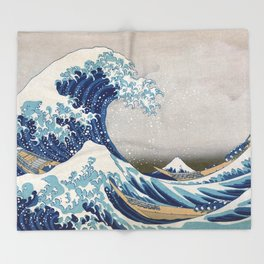 Under the Wave off Kanagawa - The Great Wave - Katsushika Hokusai Throw Blanket