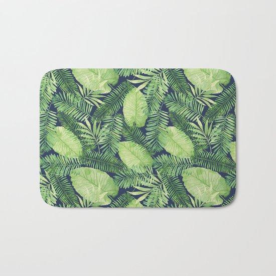 Tropical Branches Pattern on Dark 02 Bath Mat
