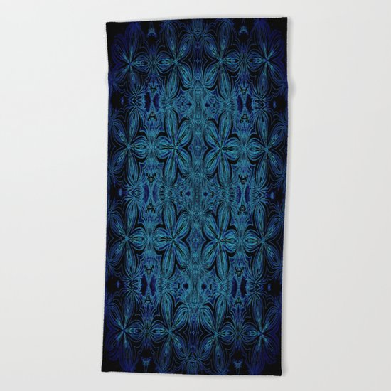 Turquoise Teal Delicate Flowers Beach Towel