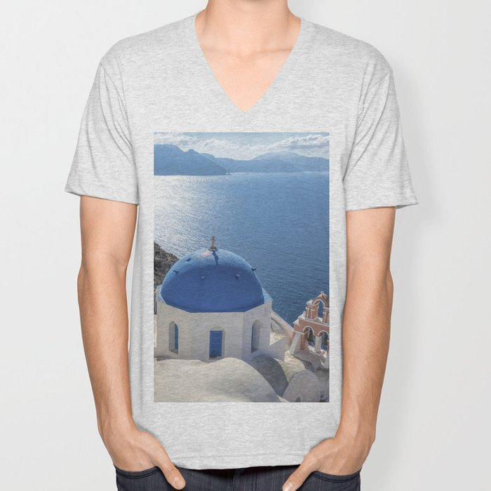 Santorini Island with churches and sea view in Greece Unisex V-Neck