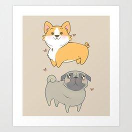Corgi and pug Art Print