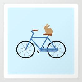 Bunny Riding Bike Art Print