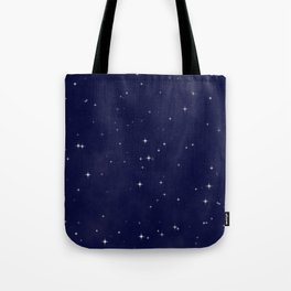 Modern navy blue white starry sky stars pattern Tote Bag