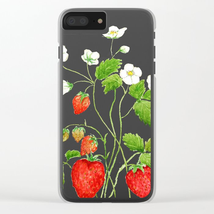 strawberry and strawberry flowers watercolor painting Clear iPhone Case