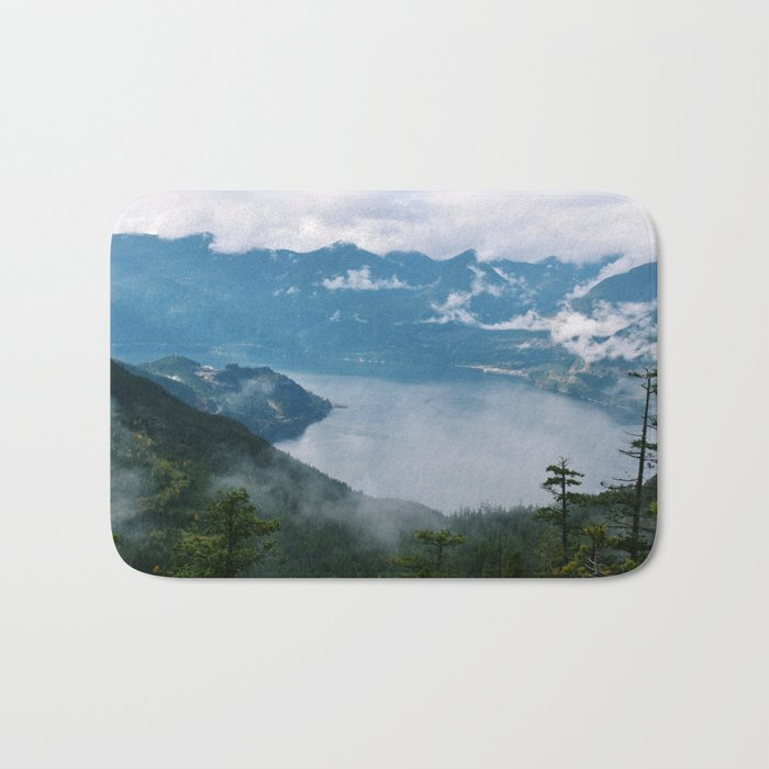 Fog over the water in Squamish BC Bath Mat