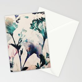 Watercolor Flowers on canvas Stationery Cards