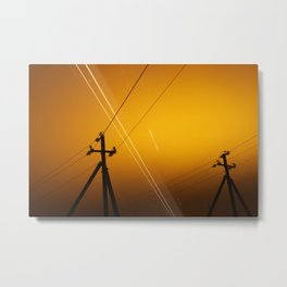 Pillar for electricity wire on twilight time Metal Print