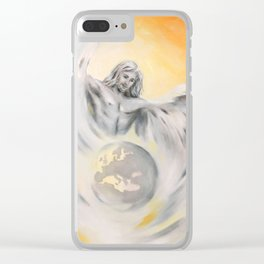 Guardian Angel World Peace - Handpainted Angel Art Clear iPhone Case