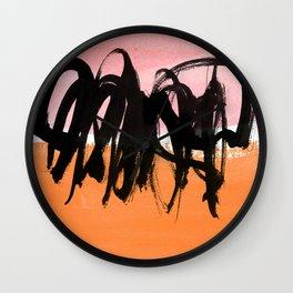 strokes on pink & orange Wall Clock