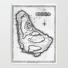 Vintage Map of Barbados (1823) BW Poster