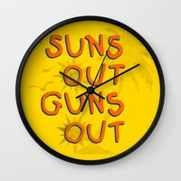 guns Wall Clocks featuring Guns Out by Free Specie