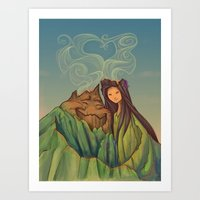 hallion Art Prints featuring Volcano Love by Karen Hallion Illustrations