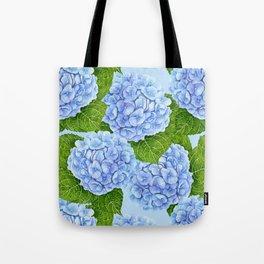 Blue hydrangea watercolor pattern Tote Bag