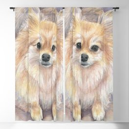 Pomeranian Watercolor Pom Puppy Dog Painting Blackout Curtain